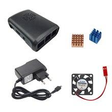 2017 Raspberry Pi 3 ABS корпус Box + вентилятор + 5 В 2.5A Мощность Зарядное устройство адаптер + теплоотвод для Raspberry Pi 3 Модель B Бесплатная доставка