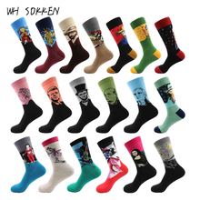 WH SOKKEN Novelty gifts van gogh Couple's cotton art socks casual funny style world famous paintings pattern
