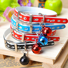 Cat Collar with Safety Buckle Bell Leather Dog Puppy Collars Necklace Adjustable Pet Supplies