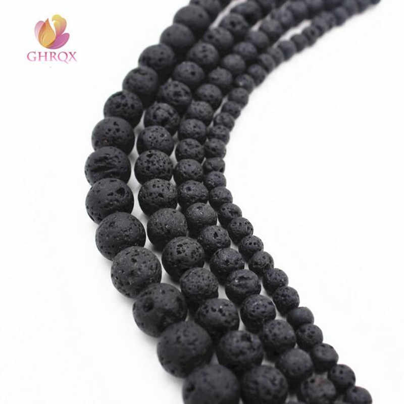 GHRQX Hot Sell 6mm/8mm/10mm/12mm Wholesale Natural Black Volcanic Lava Stone Round Beads