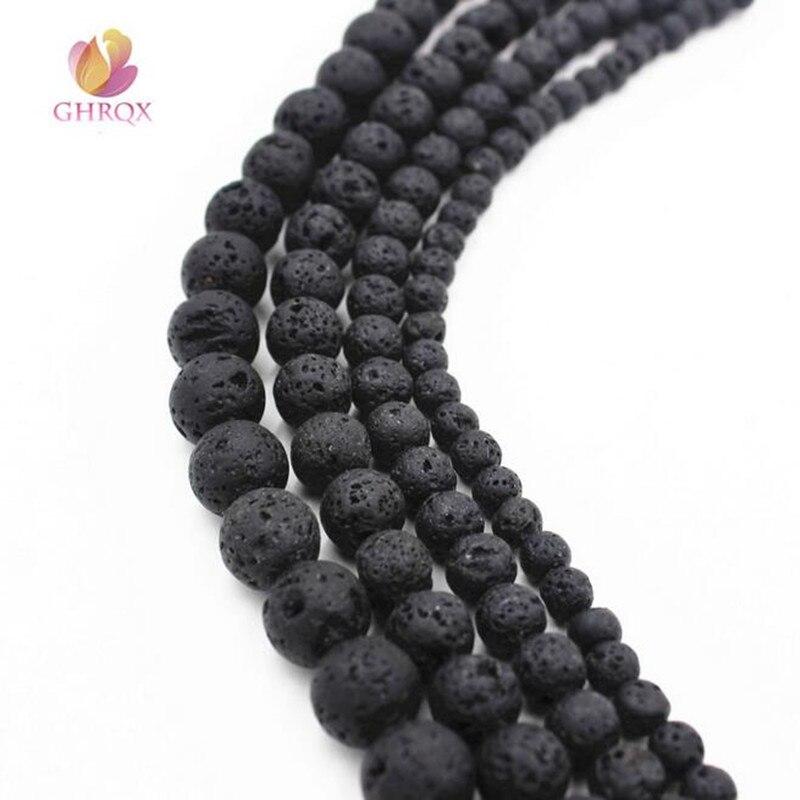 Wholesale  Mm Round Natural Black Lava Stone