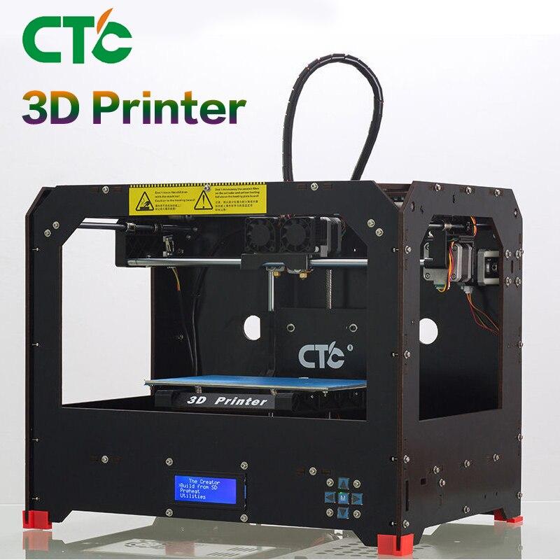 CTC 3D Printer Two nozzles Black based on Makerbot Rep 3D Printer dual-nozzle Double sprinkler 3d printer accessory brass nozzles 0 5mm mk8 makerbot golden 2 pcs