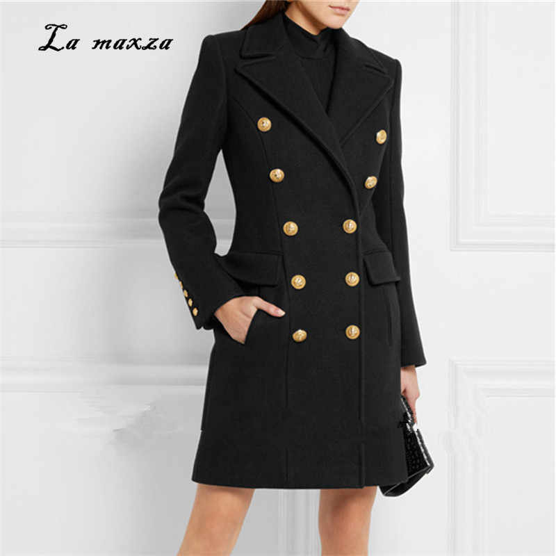 Women Winter Coat Wool 2018 Vintage Elegant Clothes OL Fashion Outwear Long Coat Winter New Women Plus