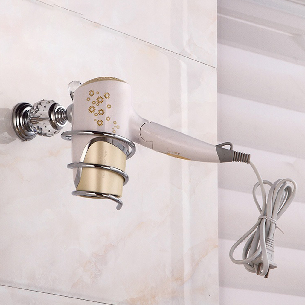 Solid Brass Crystal Hair Dryer Holder Bathroom Hairdryer Spiral Shelf Wall-mounted Hair Dryer Storage Rack