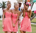 Real Photos Junior A Line Short Knee Length Bridesmaids Dresses For wedding vestido para casamento coral bridesmaid dress