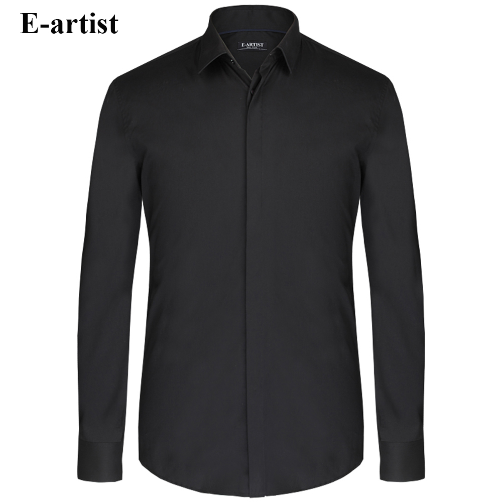E artist Men s Spring Autumn Business Casual Cotton Dress Shirts Male Long Sleeve Slim Fit