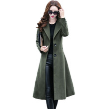 New Arrivals 2016 Autumn And Winter Women's Fashion Woolen Coat Windbreaker Slim Knee Long Section Of Trench Coat Female  C471