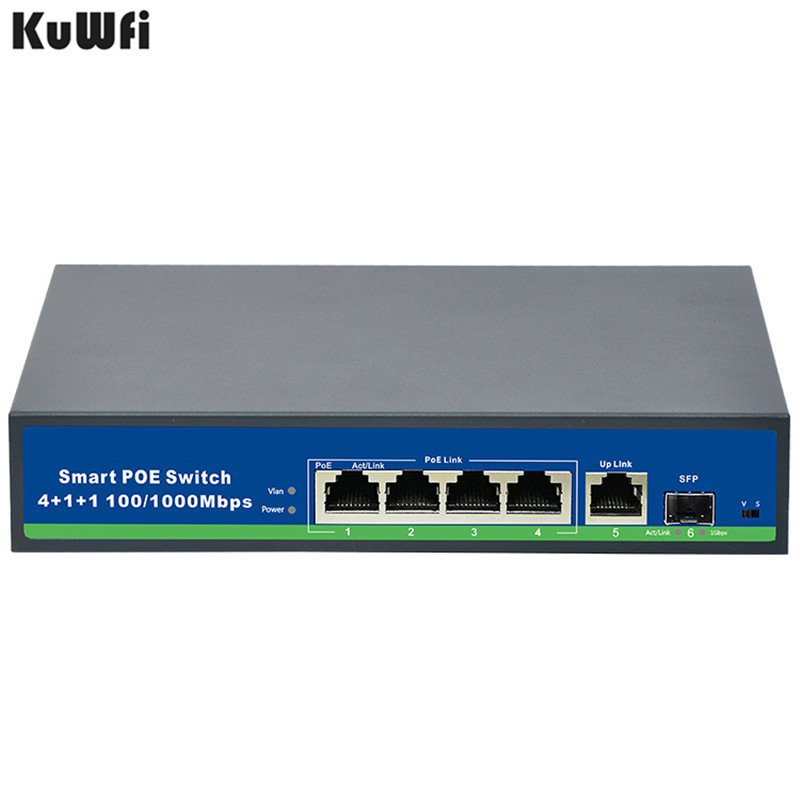 Image 4 - 48V Power Gigabit 10/100/1000Mbps 4 Port POE Switch With 1Uplink And 1SFP Port For POE Camera Support Vlan MDI/MDIX Auto Flip-in Network Switches from Computer & Office