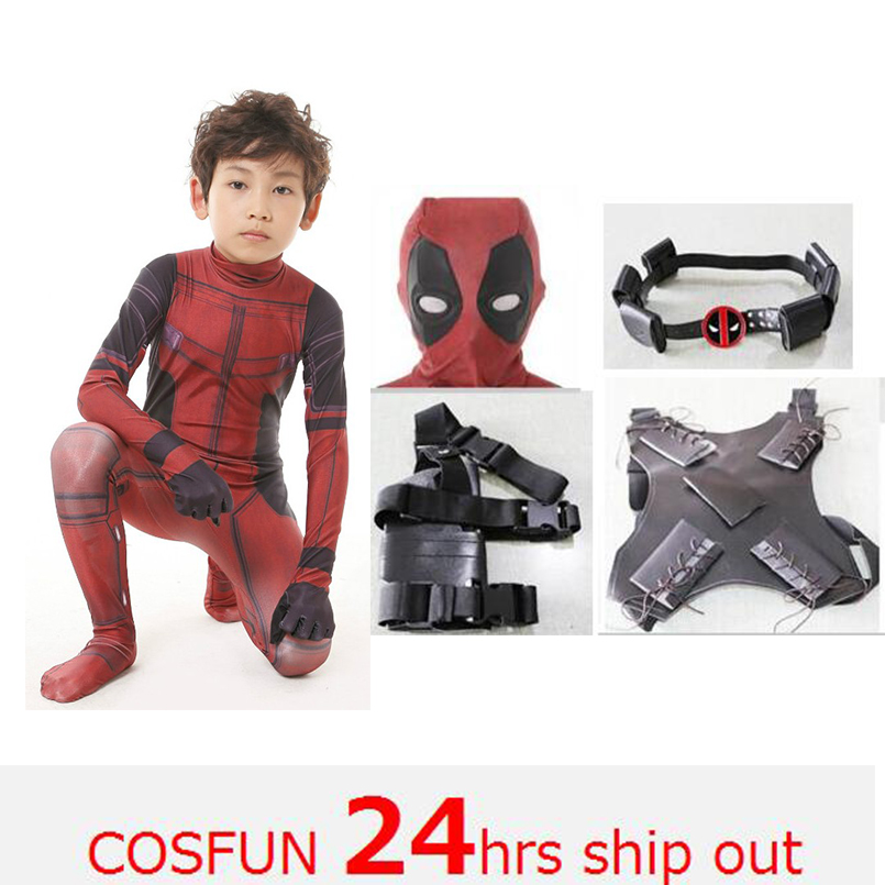 020c974781 3D Deadpool Traje cosplay menino trajes Deadpool Wade Wilson Vermelho Traje  Cosplay Macacão Para Festa de Halloween Palco unitard