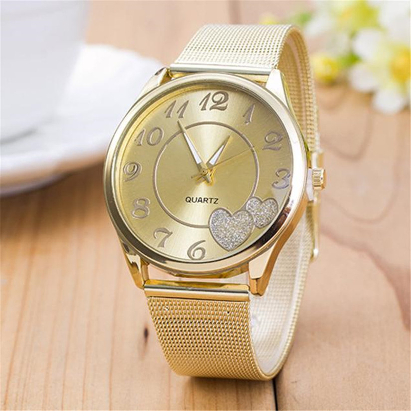 Perfect Gift   Women Ladies Watch Gold Mesh Band Wristwatch  Levert Dropship Mar07