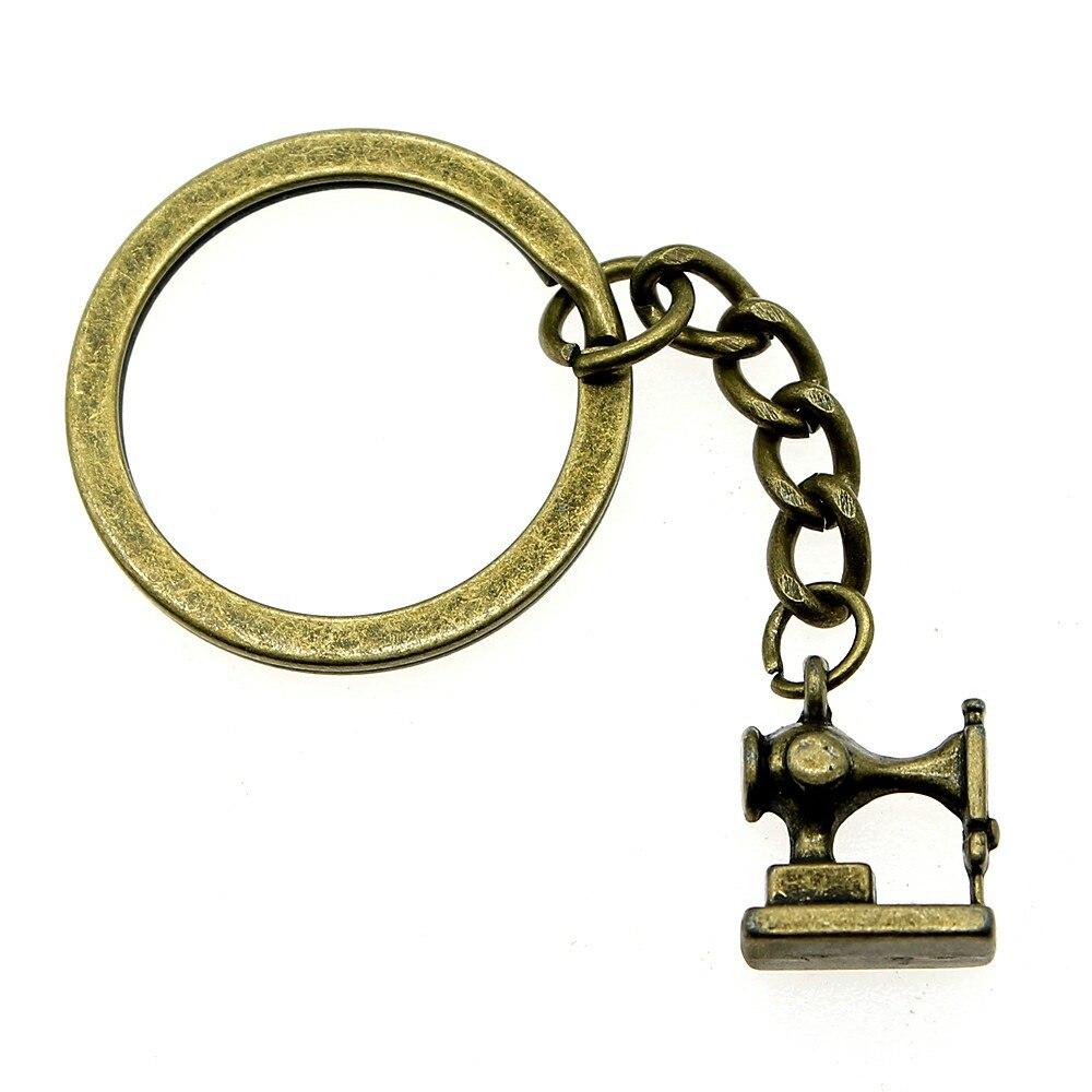 1 Stück Brieftasche Keychain 3d Nähen Maschine Rückkehr Geschenke Für Kinder Geburtstag Party 15x12mm Anhänger Antike Bronze SchöN Und Charmant