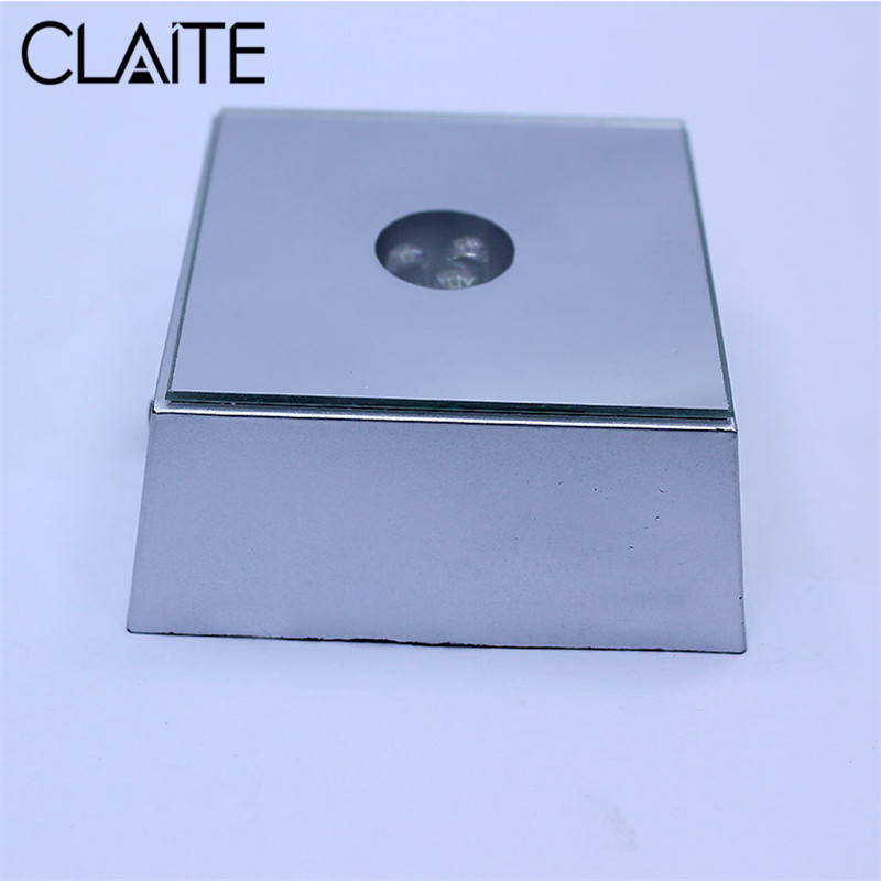 CLAITE 3 LED Colorful Light Crystal Figurine Display Lamp Base Colorful Square Stand Base For Crystal Glass Transparent Objects