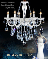 AUTHENTIC ALL CRYSTAL CHANDELIER WITH BLUE CRYSTALS 6 LIGHTS H21 X W19 5 Guaranteed100 Free Shipping
