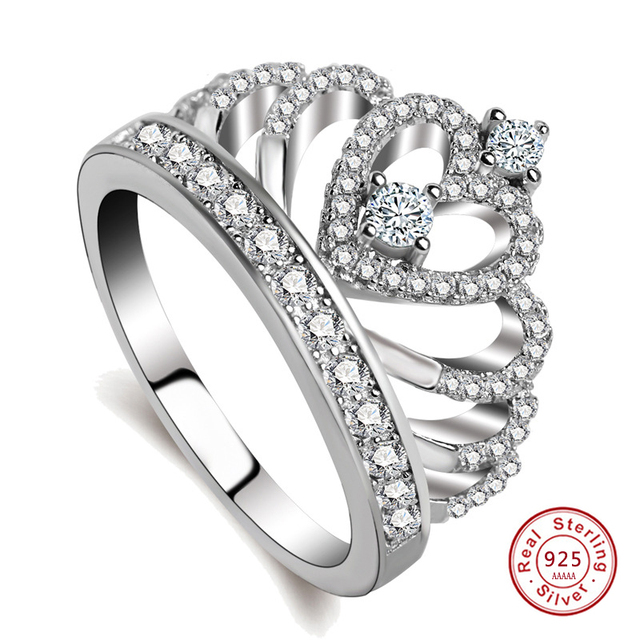 925 sterling-silver-jewelry Women Crown rings Handmade 1.5ct Imitation Cz Engagement Band Ring for women gift jz10
