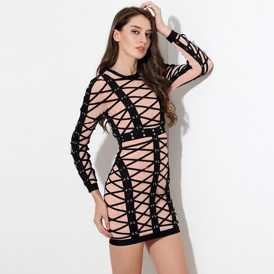 2018 nuevo vestido de fiesta de celebridades de manga larga adornado con encaje cruzado de lujo para mujer vestidos de malla al por mayor vendaje de pasarela-in Vestidos from Ropa de mujer    2