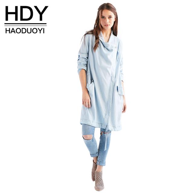 Hdy haoduoyi cor sólida bolso com zíper duplo das mulheres denim casaco de outono outwear ocasional o-pescoço manga longa trench coat feminino