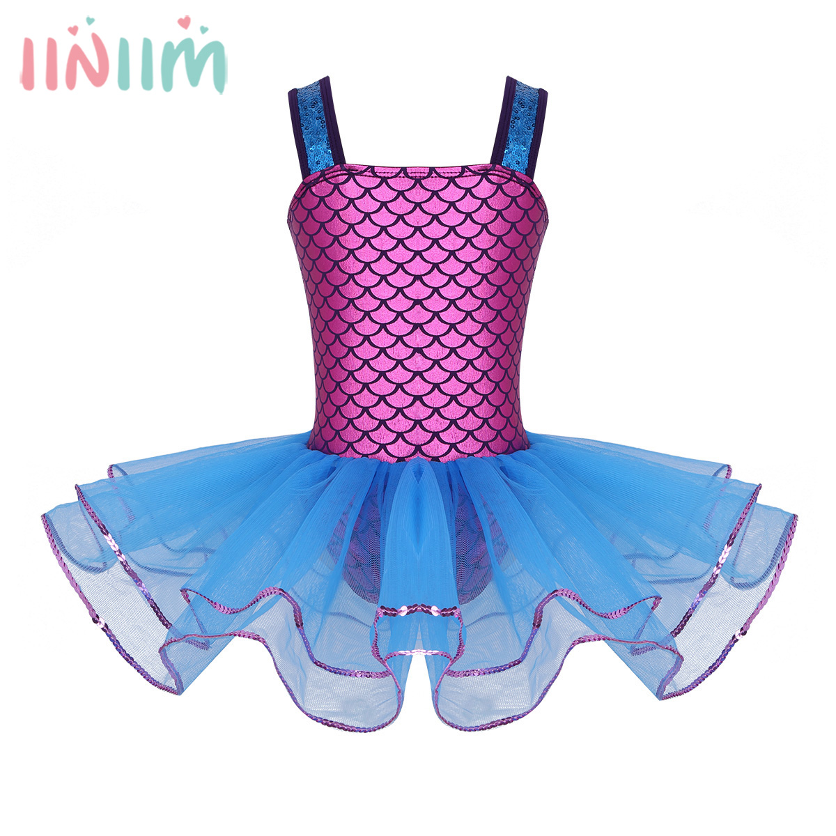 4c526b0f32 Detail Feedback Questions about iiniim Girls Mermaid Sequins Wide Shoulder  Straps Ball Gown Performance Ballet Tutu Dancing Dresses Gymnastics Leotard  Dress ...