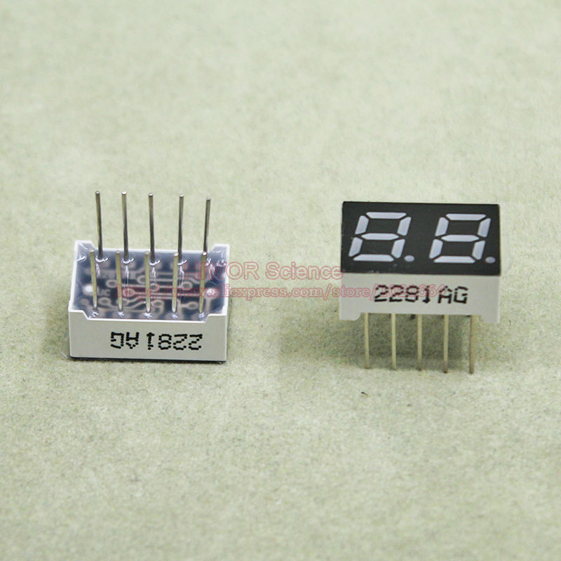 (10pcs/lot) 10 Pins 2821AG 0.28 Inch 2 Digits Bits 7 Segment Green LED Display Common Cathode Digital Display