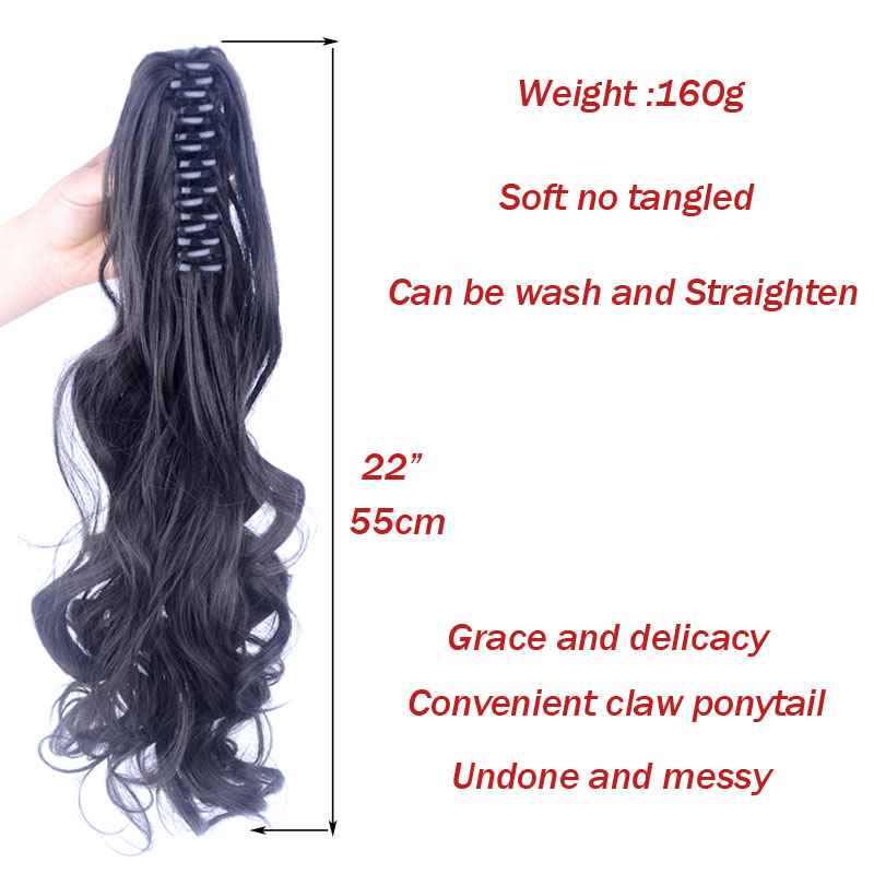 jeedou-Wavy-Ponytails-Synthetic-22-55cm-GreenPink-Gray-Omber-Color-Real-Natural-Claw-Ponytail-Undone-and