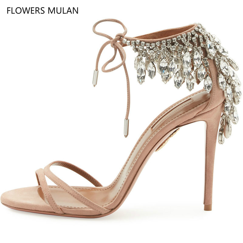 New Arrival Ankle Tie Crystal Fringed Lace Up Gladiator Sandals Women Stiletto High Heels Pumps Party Wedding Shoes Blade Woman 2018 new arrival shoes woman stiletto zapatos mujer sandals chaussure femme ankle high heels party pumps sandalias femininas