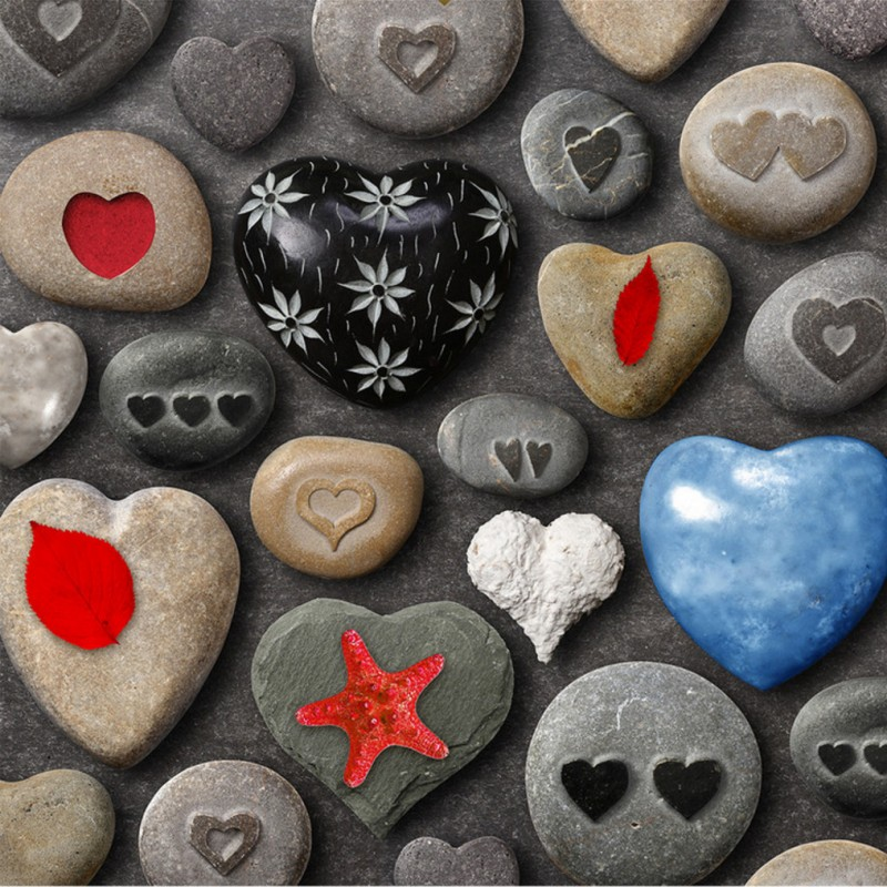 купить Free Shipping 3D stereo heart shaped stone flooring Self-adhesive living room hotel restaurant wallpaper mural по цене 7093.63 рублей
