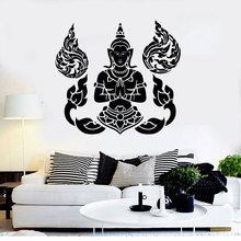 ヒンドゥー神話文字ヨガ瞑想アールデコ調ビニール壁デカールヨガスタジオホームインテリアウォールステッカー YJ19