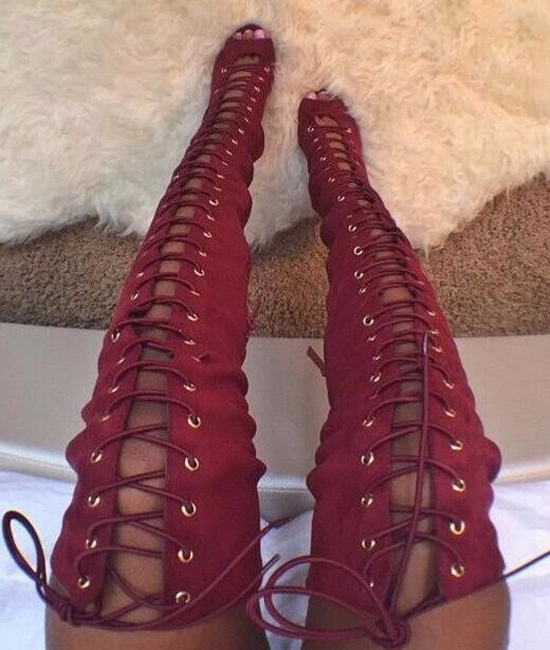 New Fashion Women Suede Leather Lace-up Over Knee Thin Heel Gladiator Boots Thin High Heel Long Boots Real Picture Dress ShoesNew Fashion Women Suede Leather Lace-up Over Knee Thin Heel Gladiator Boots Thin High Heel Long Boots Real Picture Dress Shoes