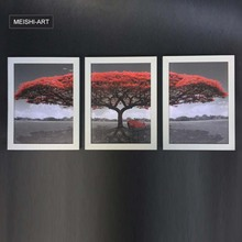 Framed 3 pcs Printed red tree art landscape picture large painting wall art for living room home decor Canvas mounted artwork