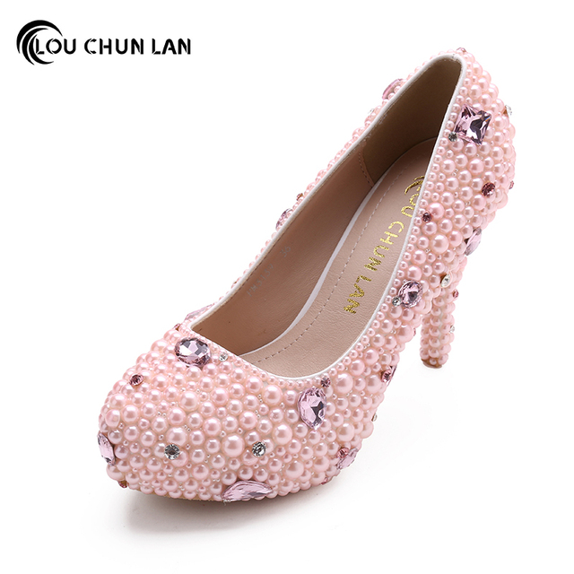 LOUCHUNLAN Sepatu Sepatu wanita Pompa warna Pink Sepatu Penuh Mutiara  Pengantin Sepatu Pernikahan platform kristal Drop 6829aeb19d