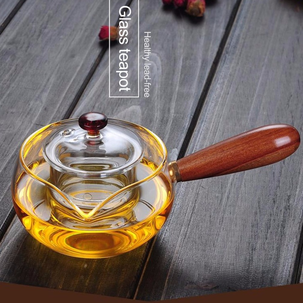 350ML Practical Design Wood Handle Transparent Clear Borosilicate Glass Teapot Elegant Glass Tea Cup Teapot for Home Use350ML Practical Design Wood Handle Transparent Clear Borosilicate Glass Teapot Elegant Glass Tea Cup Teapot for Home Use