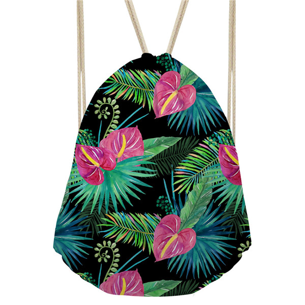 Noisydesigns Tropical Plants Leaves Printed Backpack Women Girls New Drawstring Bag Casual Travel Feminine Backpacks Sac A Dos