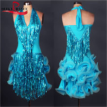 Blue Women Latin Salsa Samba Dance Dress Competition Sequined Evening Dance Dress FOR adult costumes