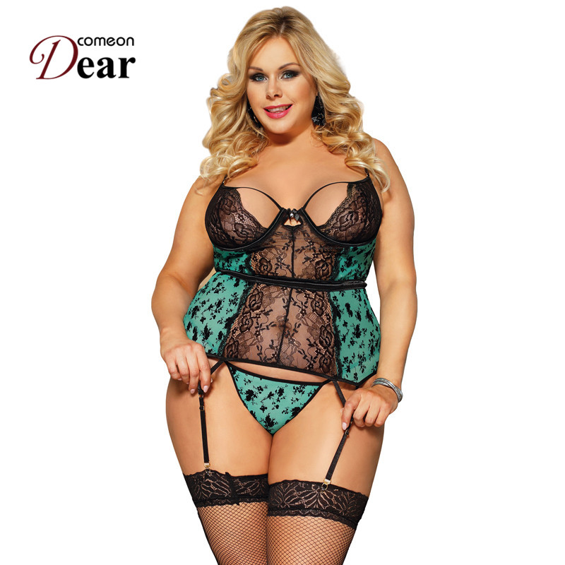 Comeondear See Through Lace Sexy Lingerie Porno Baby Doll Mujer Negligee Women Erotic Underwear Sexy Lady Nightwear 5XL RB80766