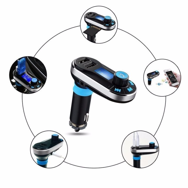 Hot Bluetooth Car Kit MP3 Player FM Transmitter Auto Bluetooth AUX Wireless Car Modulator Radio 2 USB Car Charger Remote Control 3