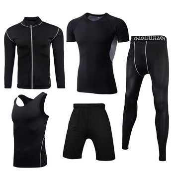 Men Sportswear Compression Sport Suits Quick Dry Running Sets Clothes Sports Joggers Training Gym Fitness Tracksuits Running Set 32