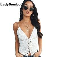 LadySymbol Weiß Frauen Tank Top Elegante Sommer 2017 Strand V-ausschnitt Backless Leger Sexy Camis Nette Kühle Strand Lace Up Tank Mädchen