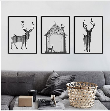 Nordic Vintage Black White Deer Head Animals Silhouette  Big Art Print Poster Wall Picture Canvas Painting No Framed Home Decor