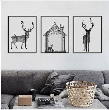 Nordic Vintage Black White Deer Head Animals Silhouette Big Art ...