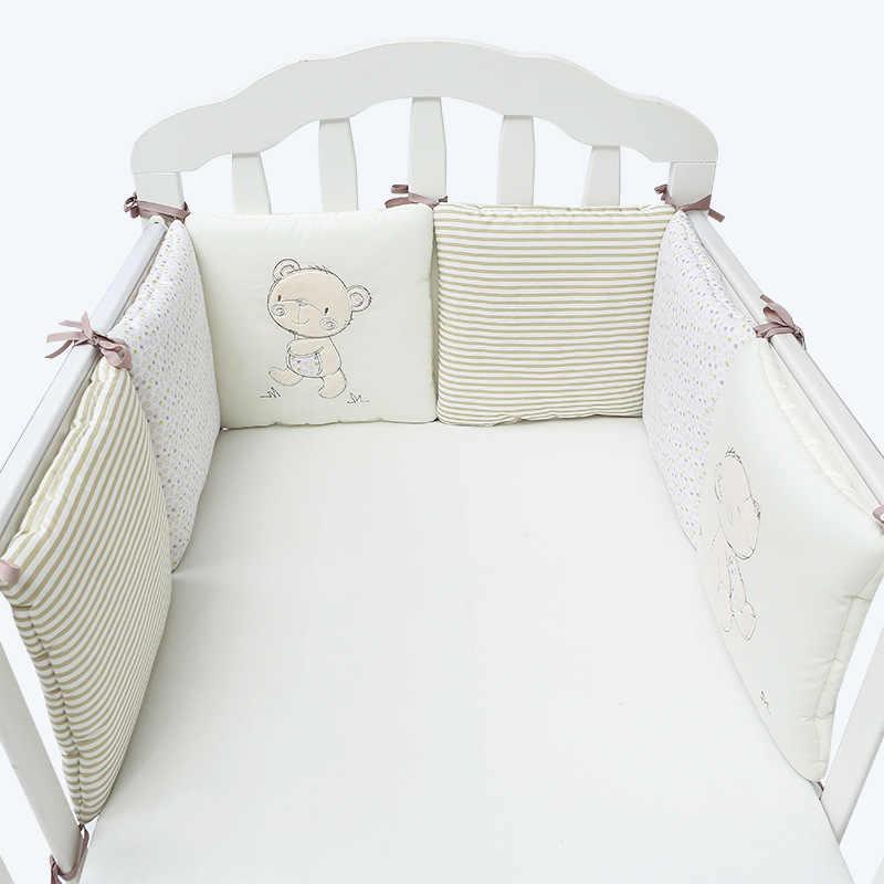 6 ชิ้น/เซ็ตเด็ก Crib กันชนผ้าฝ้ายกันชนสำหรับทารก Anti-collision เด็กแรกเกิด Crib Protector Cushion เด็กวัยหัดเดินชุดเครื่องนอน