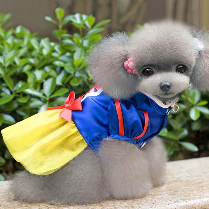 snow white dog dress cartoon pet costume cute puppy halloween princess dress small pet apparel chihuahua teddy dog skirt xs xxl in dog dresses from home