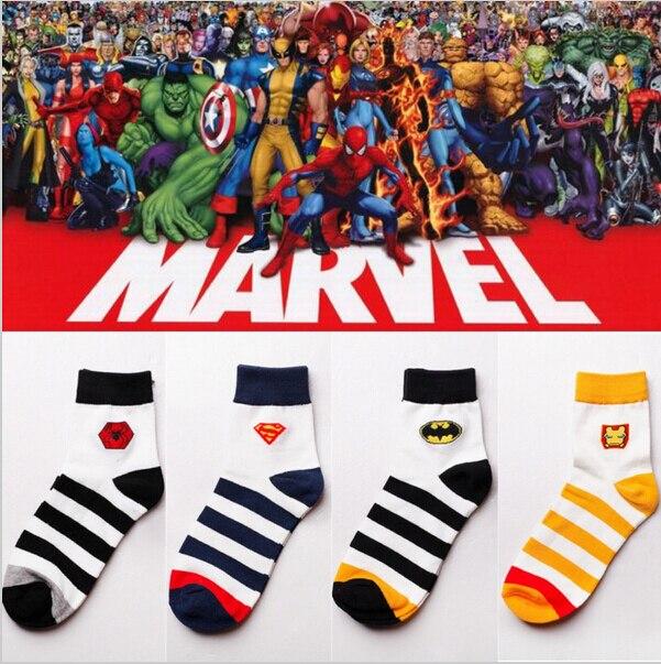 1 лот = 5 пар Marvel Носки герои логотип средней длины носки в полоску mr Человек-паук Супермен Бэтмен Ironman Носки 6108 ...