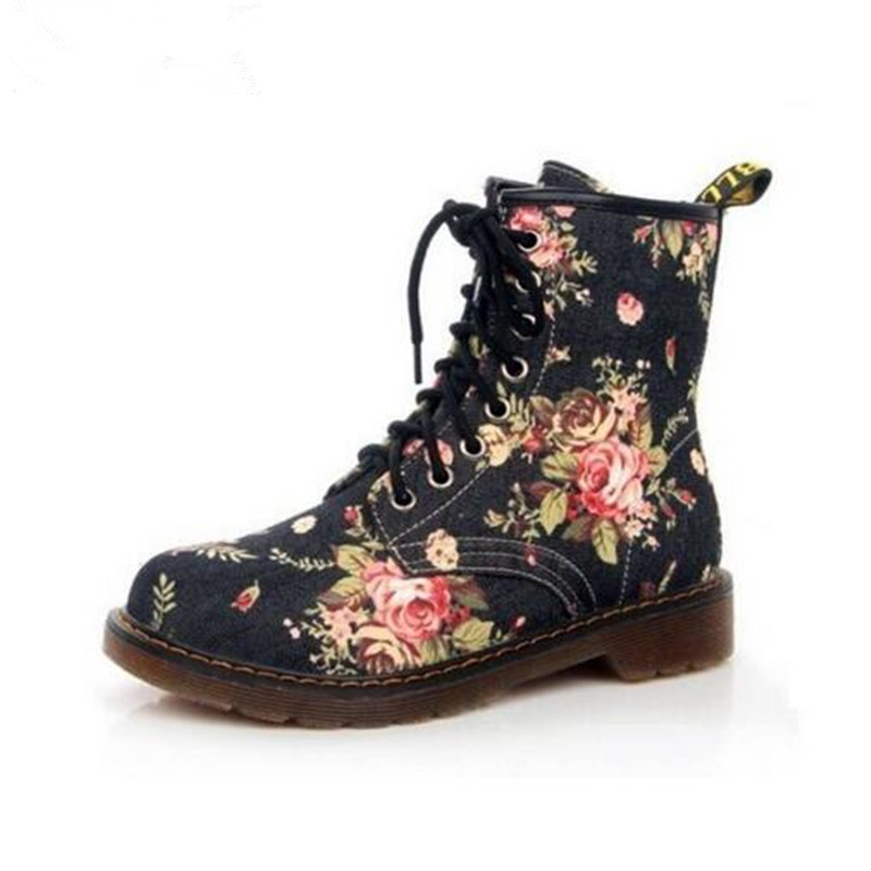 Plus Size Fashion Autumn Beautiful Flower Shoes Woman Lace-Up Motorcycle Cow Muscle Cowboy Flat Ankle Boots For Women