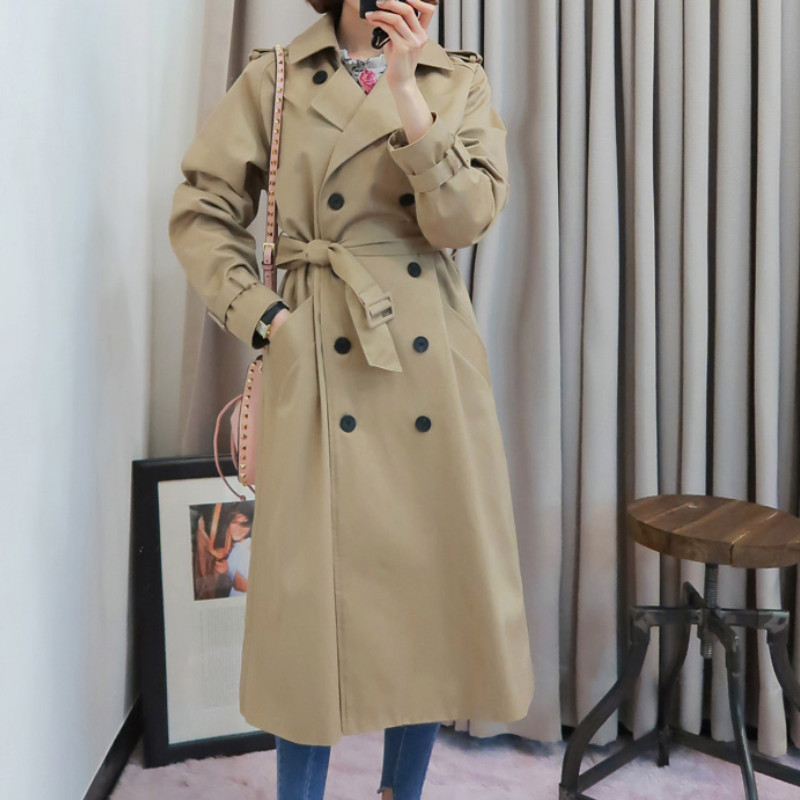 women solid   trench   coat Casual pocket double breasted sashes autumn long coats elegnt office wear outwear female overcoat T369