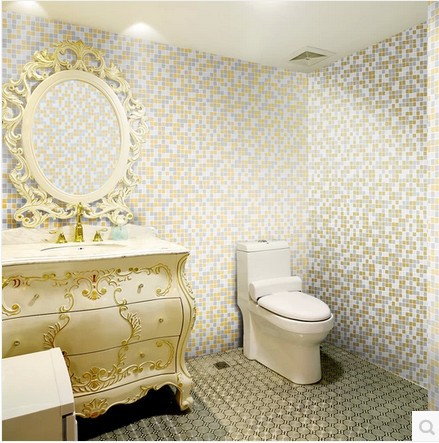 Vinyl Wallpaper Mosaic Embossed Floral Wall Paper Blue Bathroom Kitchen  Home Decor Waterproof Flower PVC Papel De Parede Rolo In Wallpapers From  Home ...