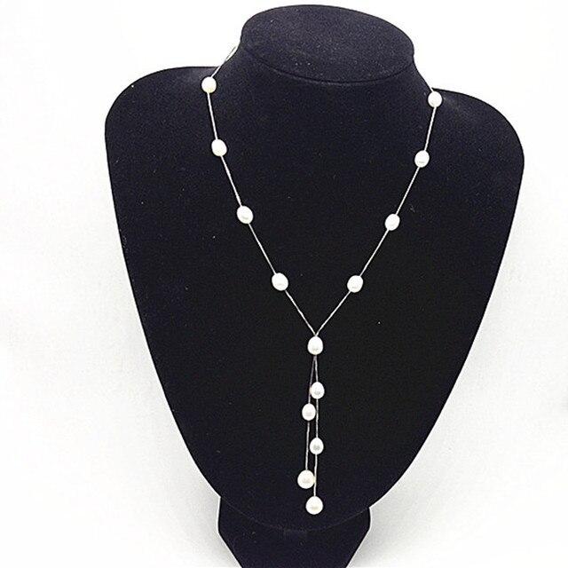 Мода Природные Женщина Перл Подвеска ювелирные изделия, 100% Пресноводные 6-7 мм Риса Долго Жемчужное ожерелье с S925 серебро