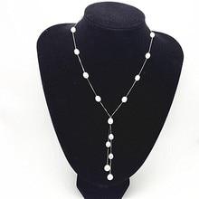 Moda Mujer Natural Perla Colgante de joyería, 100% de Largo collar de Perlas de Agua Dulce 6-7mm Arroz con S925 plata