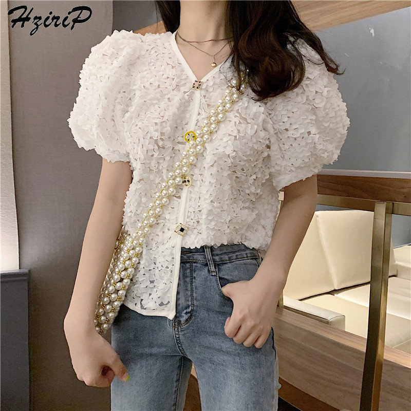 HziriP 2019 New Summer Embroidery Lace V-Neck Short-Sleeved Blouses Fashion Elegant All-Match Fresh Casual Loose Chiffon Shirt