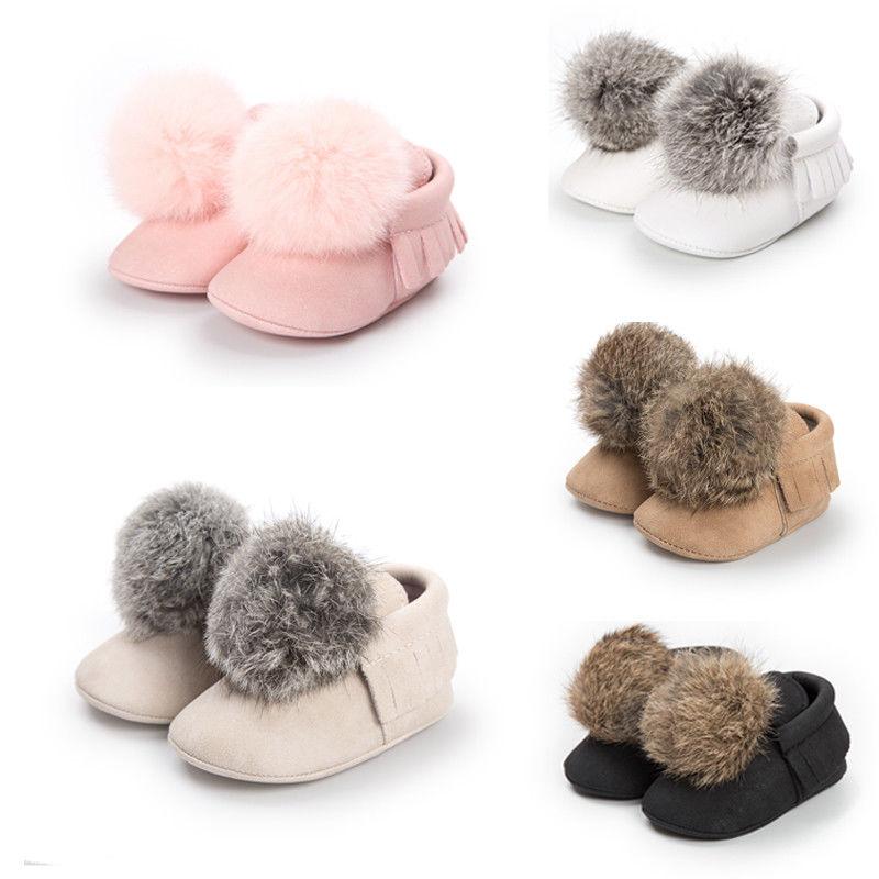Cute Winter Newborn Baby Girls Soft Flock Cotton Warm Snow Boots Hair Ball Sole Shoes First Walkers 0-18M