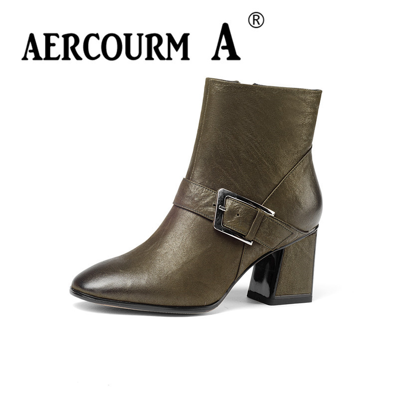 Aercourm A 2017 Ankle Boots Women Black Shoes High Quality Genuine Leather Boots Handmade Boots Plush Winter Zipper Boots Z961 de la chance winter women boots high quality female genuine leather boots work