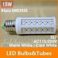 E27 15W LED Bulb 84 Chip SMD 2835 LED Light Corn lamp 110V 220V White/Warm 360 Degree Energy Saving Led Light Free Shipping